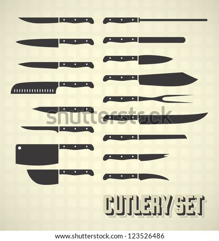 Vector Set: Cutlery Set / Kitchen Knives - stock vector