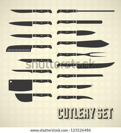Vector Set: Cutlery Set / Kitchen Knives - stock vector