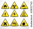 Vector Set danger signs - stock vector