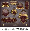 vector set: dark brown gold-framed labels - stock vector