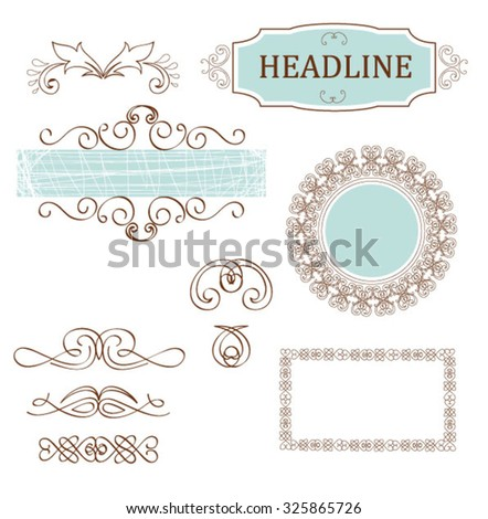 Vector set decorative elements for page layout