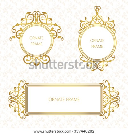 Vector set decorative frame. Elegant gold element for design template, place for text.Floral border. Lace decor for birthday and greeting card, wedding invitation. - stock vector
