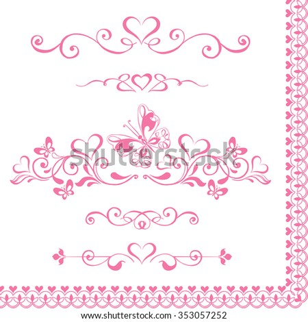Vector set Decorative pink vignettes with hearts, vintage borders. - stock vector