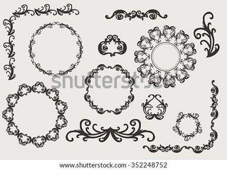 vector set: design ornaments and page decoration, label collection with vintage engraving elements - stock vector