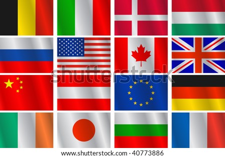 Vector set different countries flags - stock vector