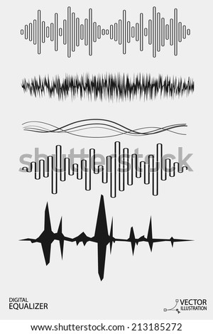 Vector Set-Digital Equalizer - stock vector