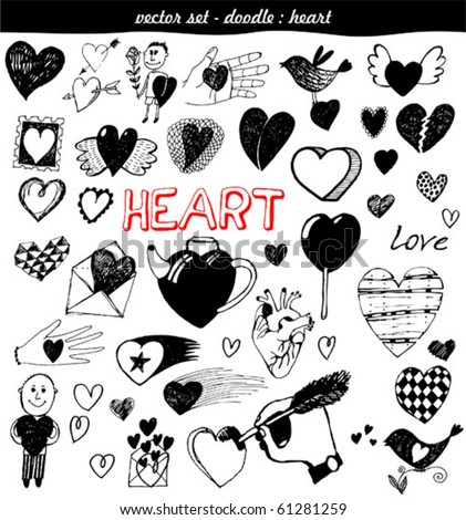 vector set - doodles - heart - stock vector