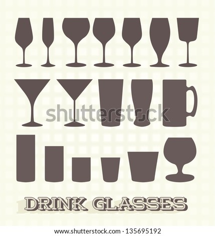 Vector Set: Drink Glass Silhouettes - stock vector