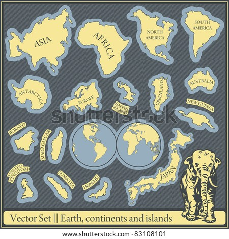 Vector Set - earth, continents and islands - stock vector