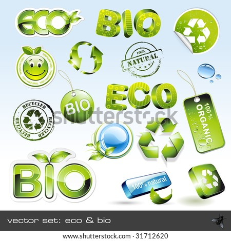 vector set: eco & bio - 16 items - stock vector