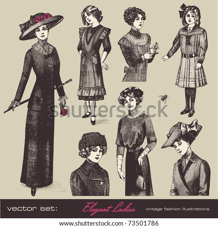 vector set: elegant vintage ladies (and girls) - variety of retro fashion illustrations and portraits - stock vector