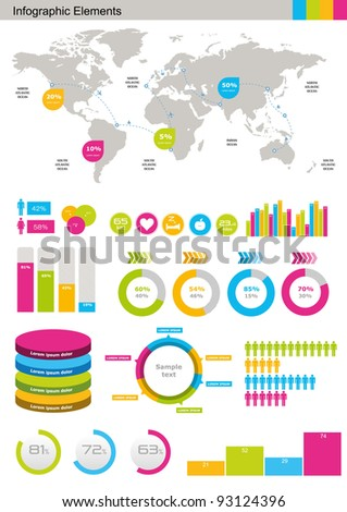 Vector Set elements of infographics  World Map and Information Graphics - stock vector