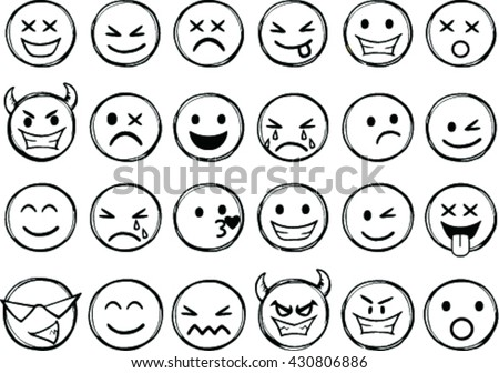 Vector set emotion icons, vector illustration