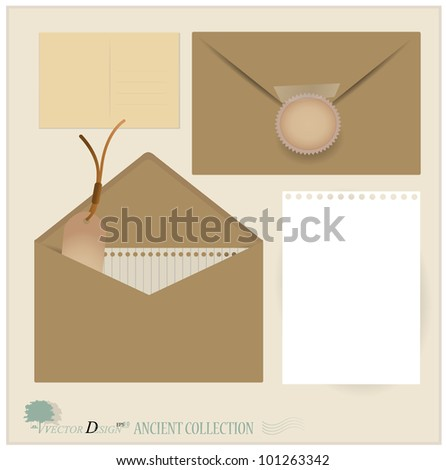 Vector set: Envelope and postcard designs. - stock vector