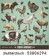 vector set: farm animals - various retro-style illustrations - stock