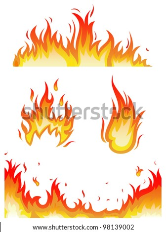 vector set: fire flames - collage - stock vector