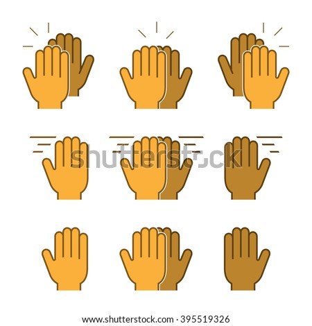 Vector set flat icons high five. - stock vector
