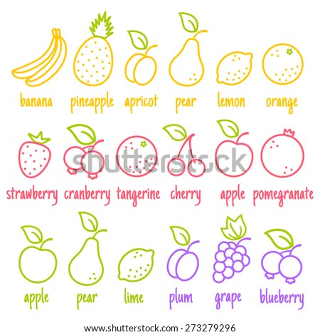 Vector set flat icons of a fruits - stock vector