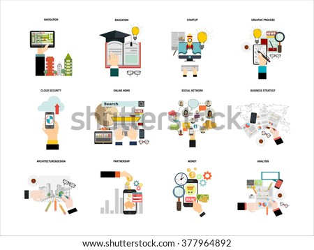 Vector set  flat web icons on following themes - business and finance, education and knowledge, technology and hardware,money,architecture design,social network,creative process,cloud security - stock vector