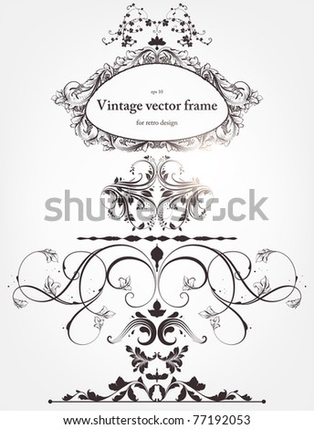 vector set: floral borders and flower ornaments for vintage design. With retro frame. - stock vector