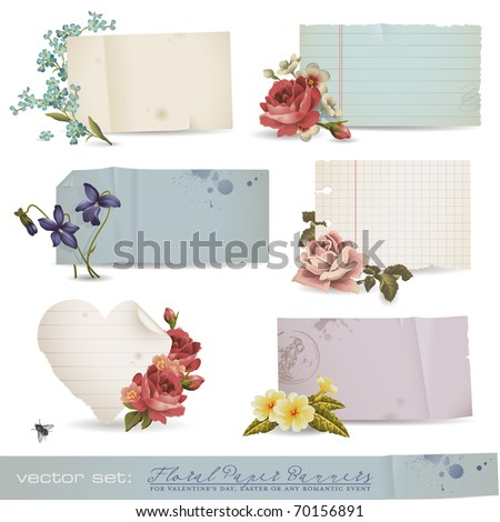 vector set: floral paper banners - variety of old sheets of paper with romantic flowers (no mesh or transparency used) - stock vector