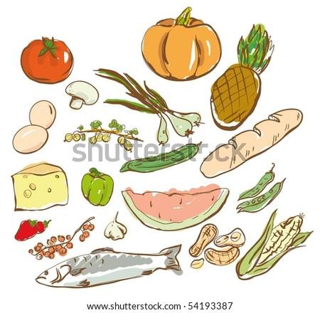 vector set:  food - stock vector
