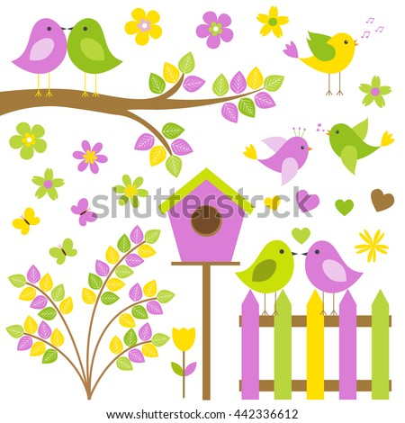 Vector set for a summer theme. Different birds sitting on branches, among butterflies and flowers.