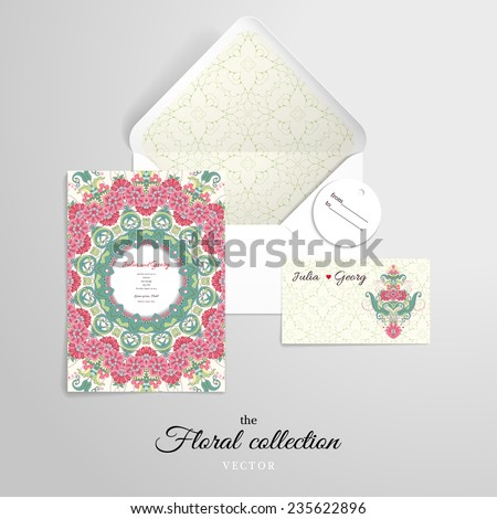 Vector set for design. Open envelope and various cards. Beautiful oriental floral pattern. Delicate green and pink. - stock vector
