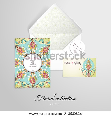 Vector set for design. Open envelope and various cards. Oriental floral pattern. Simple delicate ornament. - stock vector