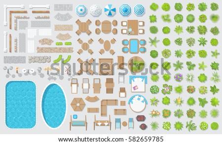 Vector Set For Landscape Design. Outdoor Furniture, Architectural Elements  And Plants. (top