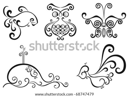 Vector set for tattoo and design, isolated black and white objects - stock vector