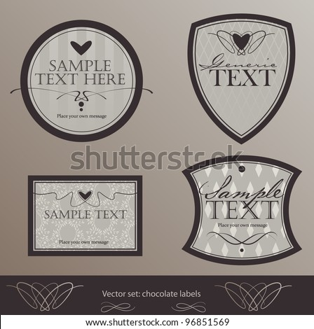 vector set: four chocolate-colored labels - stock vector