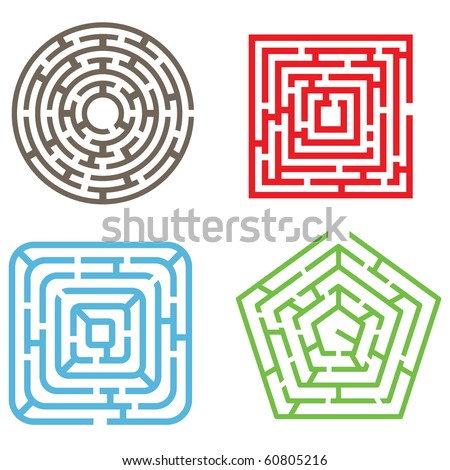 Vector Set. Four Isolated Maze Elements.  Different Types of Labyrinths. Tangled Lines into the Geometrical Shapes on White - stock vector
