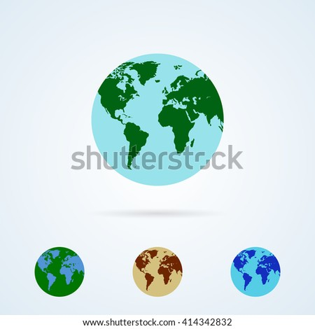 Vector Set from Colorful Globe Icons. Planet Earth. World Symbol Flat Icon. Flat Globe Icon - stock vector