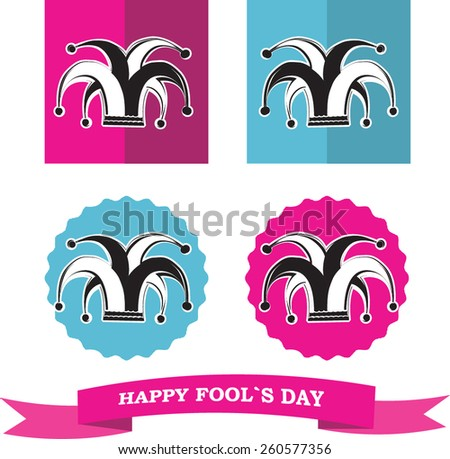 vector set from silhouette clowns hat in frame for fools day - stock vector