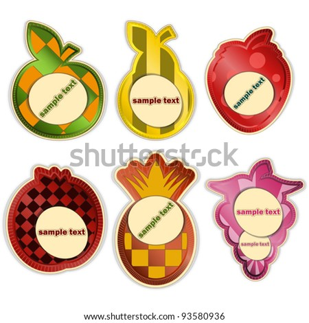 vector set - fruit labels on white background - stock vector