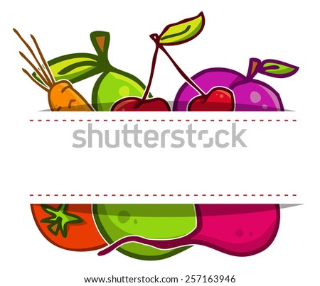 Vector set. Fruits and vegetables in the style of doodle - stock vector