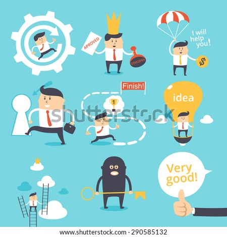 Vector set - funny business - stock vector