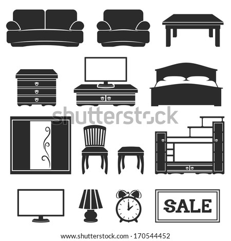Vector set. Furniture icons. - stock vector