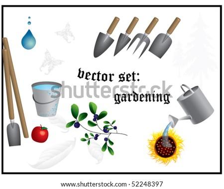 vector set: gardening - stock vector