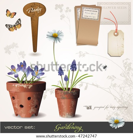 vector set: gardening - build your own small garden with potted plants :) - stock vector