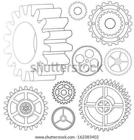 vector set gears - cog wheels - stock vector