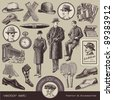 vector set: Gentlemen's fashion and accessories of the 20s - stock photo