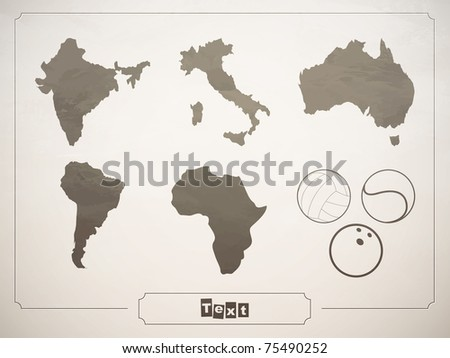 vector set geographical countries, continents and sports balls - stock vector