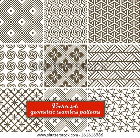 Vector set: 9 geometric patterns.  Can be used for wallpaper, web page background, as fabric pattern.  EPS 10. - stock vector