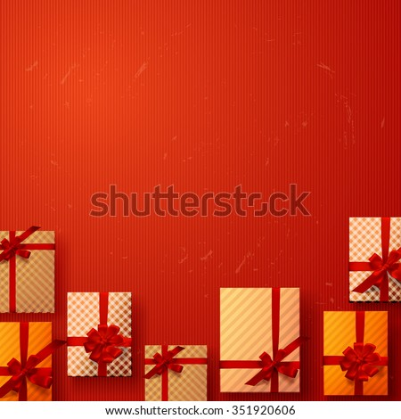 vector set gift box on background. Color gift collection boxes with bows and ribbons - stock vector