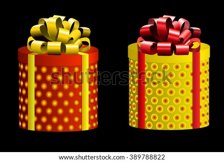 VECTOR set. Gift boxes. Different colors. Red & yellow on black  - stock vector