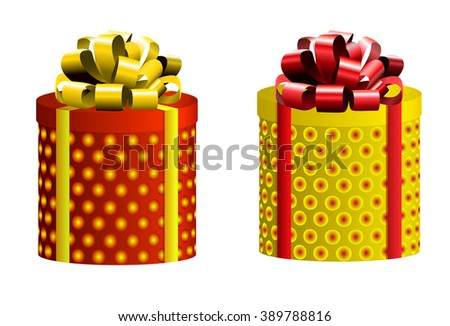 VECTOR set. Gift boxes. Different colors. Red & yellow on white  - stock vector