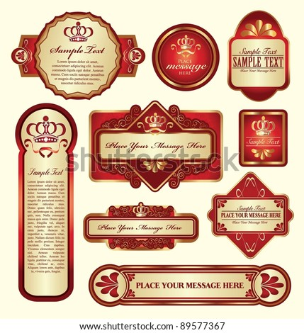 vector set: gold-framed labels