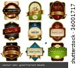 vector set: gold-framed labels - 9 items on different topics - stock
